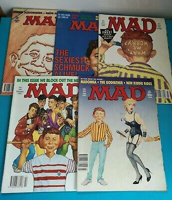 Collection of 5 Mad Magazines from the year 1991 346 347 349 351 352 MADONNA