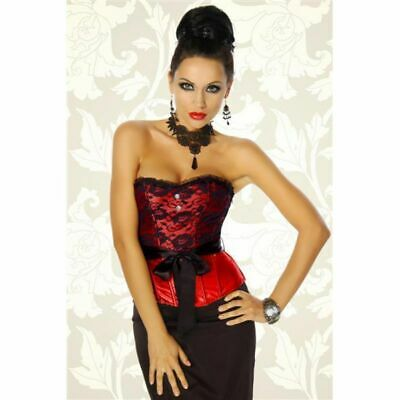 Corsage Satin with Lace Lacing in Red Black 2 XL