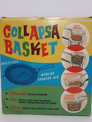 Vintage collapsa basket Made in France dipped Tinned Steel Stainless wire