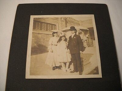 Antique/Vintage Photo Early 1900s Well-Dressed Group, Ornate Building (OL18)