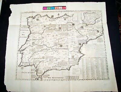CATALONIA SPAIN 1700 ca.Original  Large Map with Crests