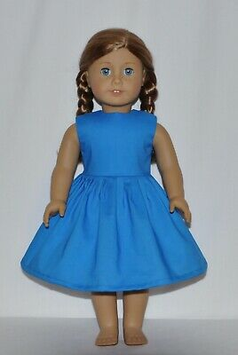 """Solid Blue Dress For 18"""" American Girl Doll Clothes"""