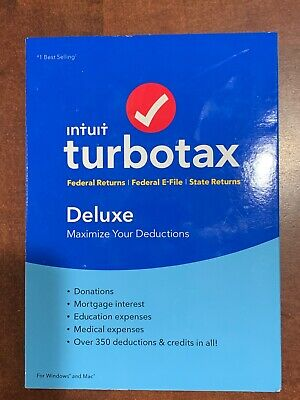 New Intuit TurboTax Deluxe 2018 w/state Sku#606067