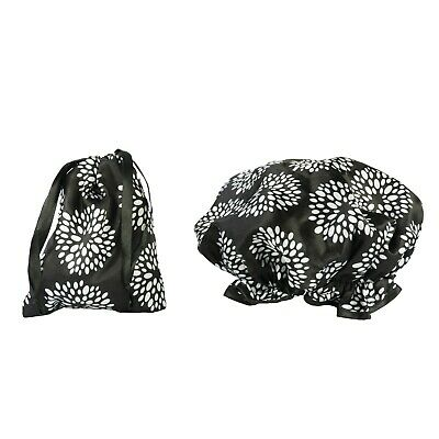 Dilly's Collections Waterproof Shower Cap Matching Satin Bag Hair Care Drops