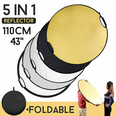 "110cm 5 in1 43"" Handheld Photo Light Multi Collapsible Disc Reflector Studio Set"