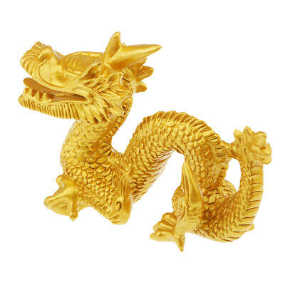 Traditional Old Gold Resin Chinese Feng Shui Dragon Figurine Statue Craft