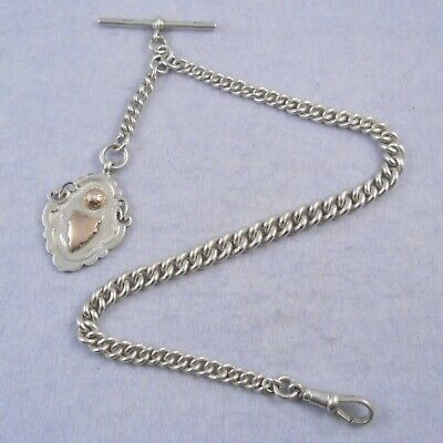 Antique hallmarked silver single Albert pocket watch chain with fob medal, 44.9g