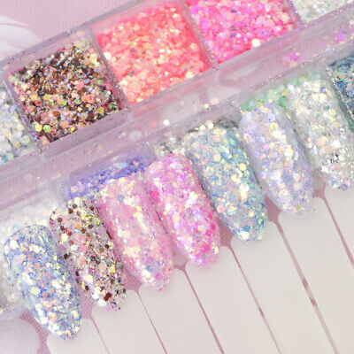 12 Colors Mixed Hexagon Nail Dust Sets Glitter Mermaid Sequin Gel Decoration