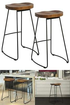 Vintage Bar Stools Set Retro Industrial Style Kitchen Pub Counter Breakfast Wood