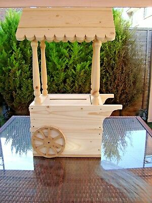 Wooden Wedding Candy Cart post box for sale free postage in uk unpainted.