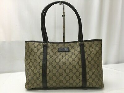 b5b552882a63 Auth GUCCI GG Pattern PVC Shoulder Tote Shopping Bag Brown 9C060340n