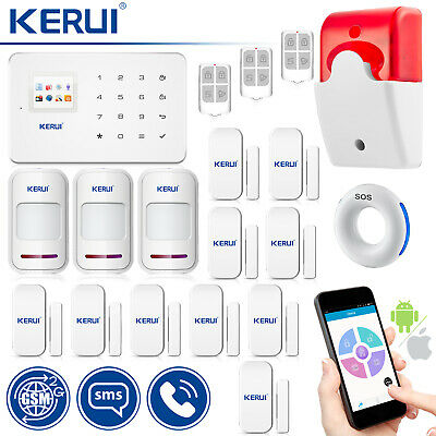 KERUI G18 GSM Wireless Home Security Panic Button Wired Strobe Siren System Kit