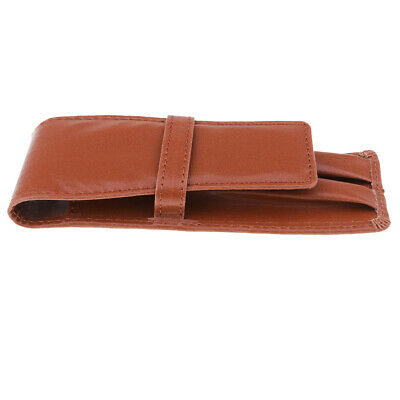 Fountain Pen Leather Pouch Organizer Carrying Case Pen Case for 3 Pens Brown