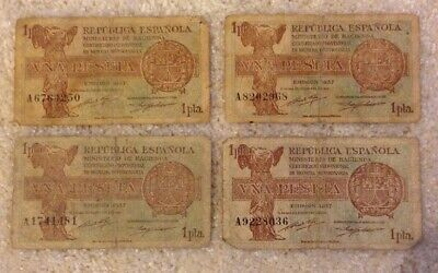 Lot Of 4 X Spain Banknotes. 1 Peseta. Spanish Republic. Emision 1937.
