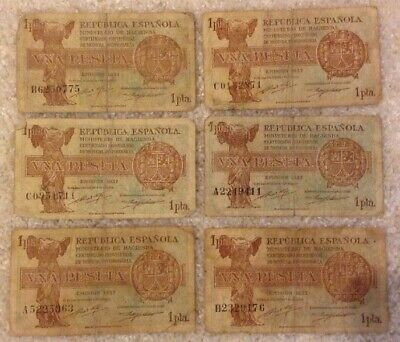 Lot Of 6 X Spain Banknotes. 1 Peseta. Spanish Republic. Emision 1937.