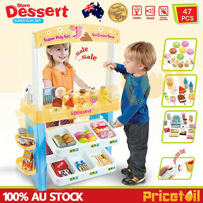 Kid Supermarket Pretend Play Icecream Dessert Set Scanner Cash Register Toy Gift