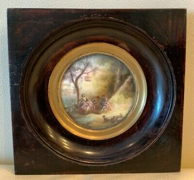 Antique 1800's French Miniature Painting Signed by Artist