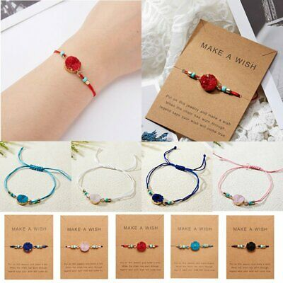 Fashion Natural Stone Braided Lucky Bracelet Adjustable Friends Holiday Jewelry