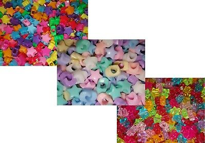 🎀 3 FOR 2 🎀 100 Star Novelty Pony Beads Mixed 10mm