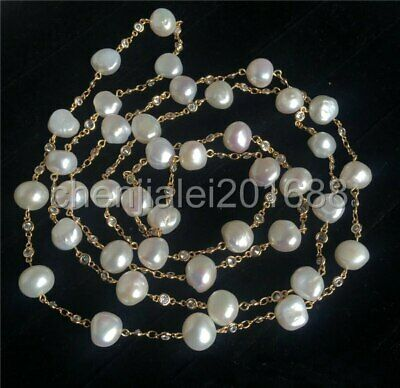 14k filled gold white 12-13mm reborn cultured Freshwater pearl necklace 50""