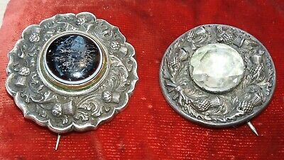 Two large antique Scottish heavy ornate solid silver pin brooches