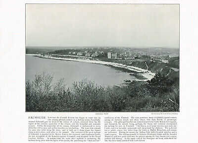 Falmouth Beach Town Cornwall 1900 Antique Old Print Picture ROC#168