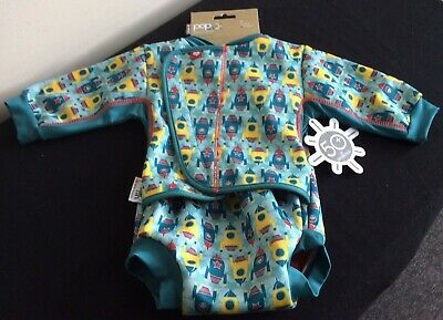 NEW Pop In Baby Cosy Swimsuit Rockets Medium 6 to 12 Months