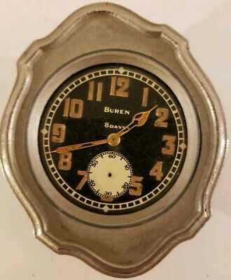 Antique 1920's BUREN 8 Day Art Deco Mechanical Wind-Up Car Auto Automobile Clock