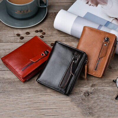 Men's Wallet First Layer Cowhide Leather Coin Purse Card Slot Brown/Red