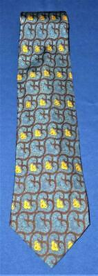Brooks Brothers 100% Silk Necktie 346 Real Ancient Madder Turquoise Black Yellow