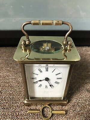 Antique Brass Carriage Clock By John Elliott & Co  With Key Good Working Order.