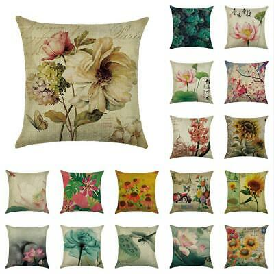 Cotton Linen Flower Pillow Case Cover Sofa Car Throw Cushion Cover Home Decor