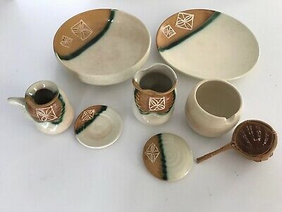 8 HANDMADE PAINTED HANDCRAFTED Clay Southwest Pottery Coffee/Tea Bowl Plate SET