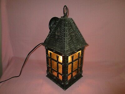 Vintage Hammered Wrought Iron Glass Gothic Hanging Chandelier Lamp Fixture