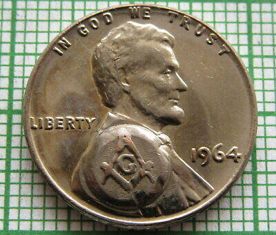 United States 1964 Lincoln Memorial Cent, Masonic Counterstamp, Silver Plated