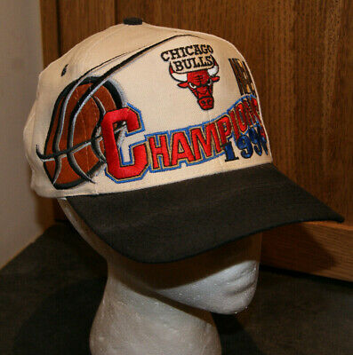 cb3acdce23f1a Vtg Rare 90 s Chicago Bulls NBA 1996 Champions Logo Athletic Cap Hat  Snapback