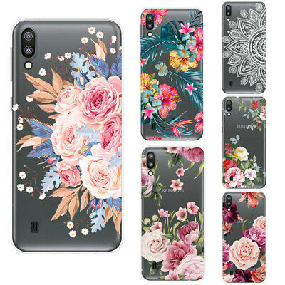 For Samsung Galaxy A50 A30 A7 A9 2018 Hollow Floral Texture Clear TPU Case Cover
