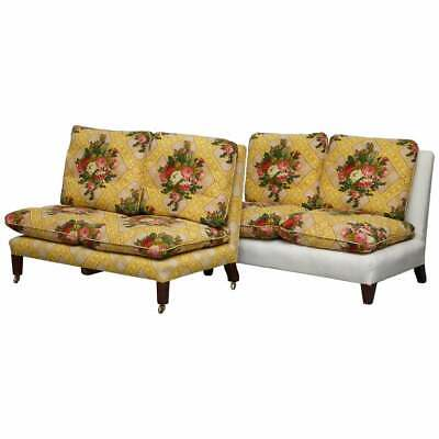 Rare Antique Howard & Sons Stamped Pair Of Sofa Benches Feather Filled Cushions