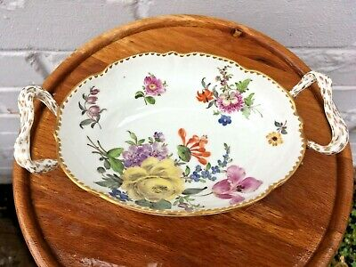 Antique Berlin Porcelain Two Handled Oval Dish Basket ~ Hand Painted Flowers