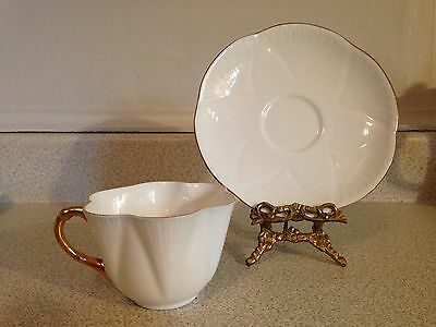 Dainty Shelley England Bone China Tea Cup And Saucer, White Regency W/ Gold Trim