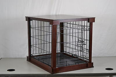 Zoovilla Indoor Wooden End Table Dog Kennel Cage Crate With Cover, Mahogany
