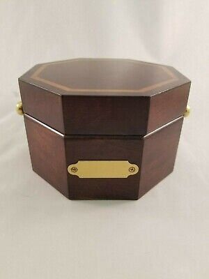 Bombay Company Brass Clock in an Octagon Cherry Wood Case - Japanese Movement