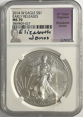 2014 American Eagle Silver Dollar NGC MS70 Early Releases Blue Label