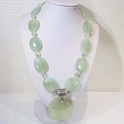 Chinese celadon green prehnite gemstone beads sterling silver necklace carved