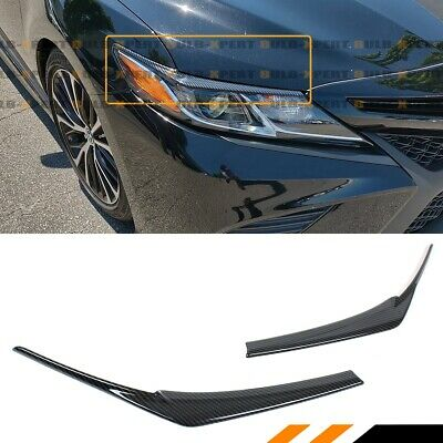 For 18-19 Toyota Camry Painted Carbon Fiber Look Headlight Eyelid Eye Lid Cover