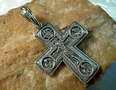 "Large Sterling Silver ""925"" Orthodox Iconic Crucifix Mother Of God, St. Nicholas"