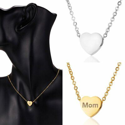 Personalized Custom Letter Engraved Stainless Steel Heart Pendant Necklace Chain