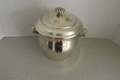 WM ROGERS SILVER PLATE ICE CHAMPAGNE BUCKET GLASS GLASS INSERT #27 FROM 1950s