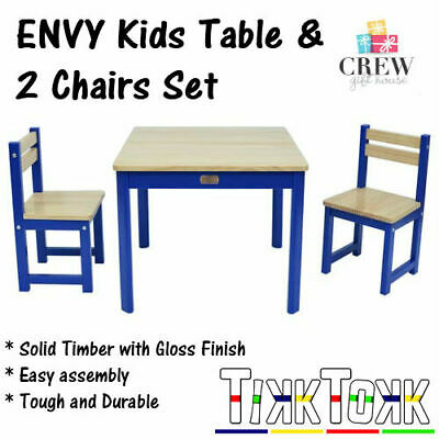 NEW Kids Table and 2 Chairs Set Blue Square Children's Meals Child's Draw Paint