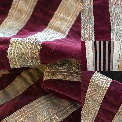 Antique C1880s French Claret Velvet Fabric Panel With 5Lengths Passmentarie Trim